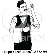 Clipart Of A Male Waiter Gesturing Perfect Or Adjusting His Mustache Royalty Free Vector Illustration