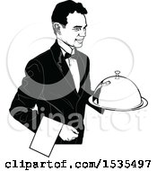Clipart Of A Male Waiter Holding A Cloche Platter Tray Royalty Free Vector Illustration
