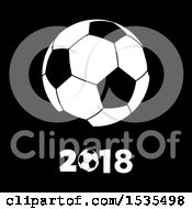 Soccer Ball With 2018 On A Black Background