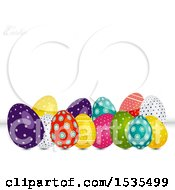 Colorful Patterned Easter Eggs With Text On A White Background