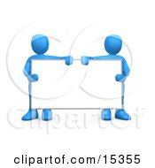 Two Blue Men Standing Behind And Holding Up A Blank White Advertising Sign Clipart Illustration Image