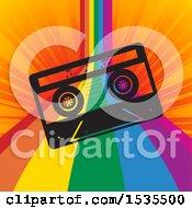 Cassette Tape Over A Rainbow Curve On Orange Rays