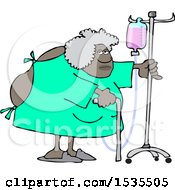 Cartoon Hospitalized Woman Walking Around With An Intravenous Drip Line