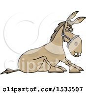 Clipart Of A Cartoon Stubborn Donkey Refusing To Get Up Royalty Free Vector Illustration