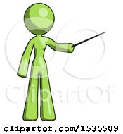 Green Design Mascot Woman Teacher Or Conductor With Stick Or Baton Directing