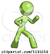 Green Design Mascot Woman Martial Arts Defense Pose Right