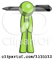 Green Design Mascot Woman Pen Stuck Through Head