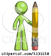 Green Design Mascot Woman With Large Pencil Standing Ready To Write