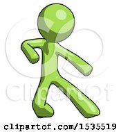 Green Design Mascot Man Karate Defense Pose Right