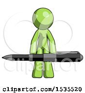Green Design Mascot Man Weightlifting A Giant Pen
