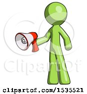 Green Design Mascot Man Holding Megaphone Bullhorn Facing Right