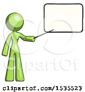 Green Design Mascot Woman Pointing At Dry Erase Board With Stick Giving Presentation