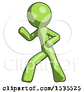 Green Design Mascot Man Martial Arts Defense Pose Left