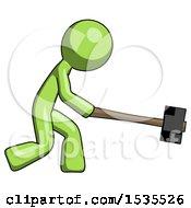 Green Design Mascot Man Hitting With Sledgehammer Or Smashing Something