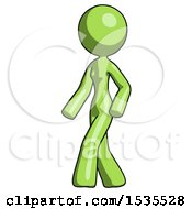 Green Design Mascot Woman Man Walking Turned Left Front View