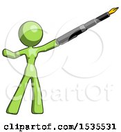 Green Design Mascot Woman Pen Is Mightier Than The Sword Calligraphy Pose
