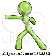 Green Design Mascot Woman Martial Arts Punch Left