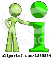 Green Design Mascot Woman With Info Symbol Leaning Up Against It