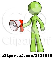 Green Design Mascot Woman Holding Megaphone Bullhorn Facing Right