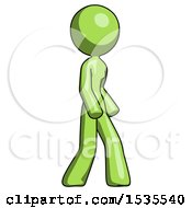 Green Design Mascot Woman Turned Right Front View
