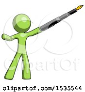 Green Design Mascot Man Pen Is Mightier Than The Sword Calligraphy Pose