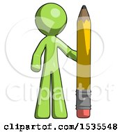 Green Design Mascot Man With Large Pencil Standing Ready To Write