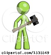 Green Design Mascot Woman With Sledgehammer Standing Ready To Work Or Defend