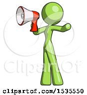 Green Design Mascot Woman Shouting Into Megaphone Bullhorn Facing Left