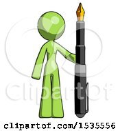 Green Design Mascot Woman Holding Giant Calligraphy Pen