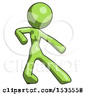 Green Design Mascot Woman Karate Defense Pose Right