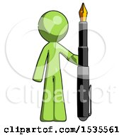 Green Design Mascot Man Holding Giant Calligraphy Pen