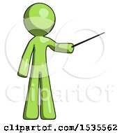 Green Design Mascot Man Teacher Or Conductor With Stick Or Baton Directing