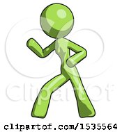 Green Design Mascot Woman Martial Arts Defense Pose Left