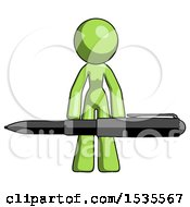 Green Design Mascot Woman Lifting A Giant Pen Like Weights