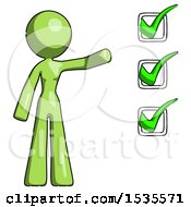 Green Design Mascot Woman Standing By A Checkmark List Arm Extended