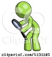 Green Design Mascot Man Inspecting With Large Magnifying Glass Left