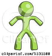 Green Design Mascot Male Sumo Wrestling Power Pose