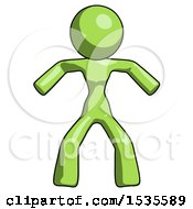 Green Design Mascot Woman Sumo Wrestling Power Pose
