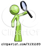 Green Design Mascot Woman Inspecting With Large Magnifying Glass Facing Up