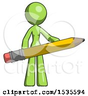 Green Design Mascot Woman Office Worker Or Writer Holding A Giant Pencil
