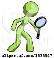 Green Design Mascot Woman Inspecting With Large Magnifying Glass Right