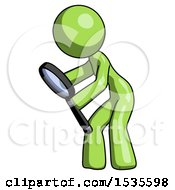 Green Design Mascot Woman Inspecting With Large Magnifying Glass Left