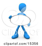 Blue Figure Holding Up A Blank Oval Sign Ready For An Advertisment