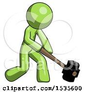 Green Design Mascot Man Hitting With Sledgehammer Or Smashing Something At Angle
