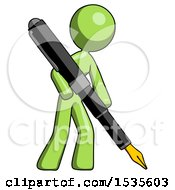 Green Design Mascot Woman Drawing Or Writing With Large Calligraphy Pen