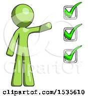 Green Design Mascot Man Standing By List Of Checkmarks