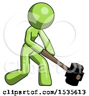 Green Design Mascot Woman Hitting With Sledgehammer Or Smashing Something At Angle