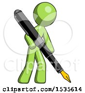 Green Design Mascot Man Drawing Or Writing With Large Calligraphy Pen