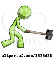 Green Design Mascot Woman Hitting With Sledgehammer Or Smashing Something