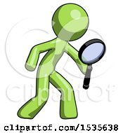 Green Design Mascot Man Inspecting With Large Magnifying Glass Right